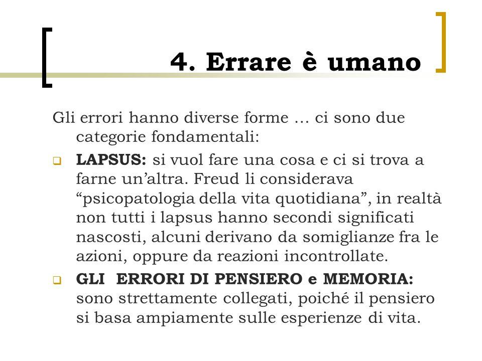 4. Errare è umano Gli errori hanno diverse forme … ci sono due categorie fondamentali: