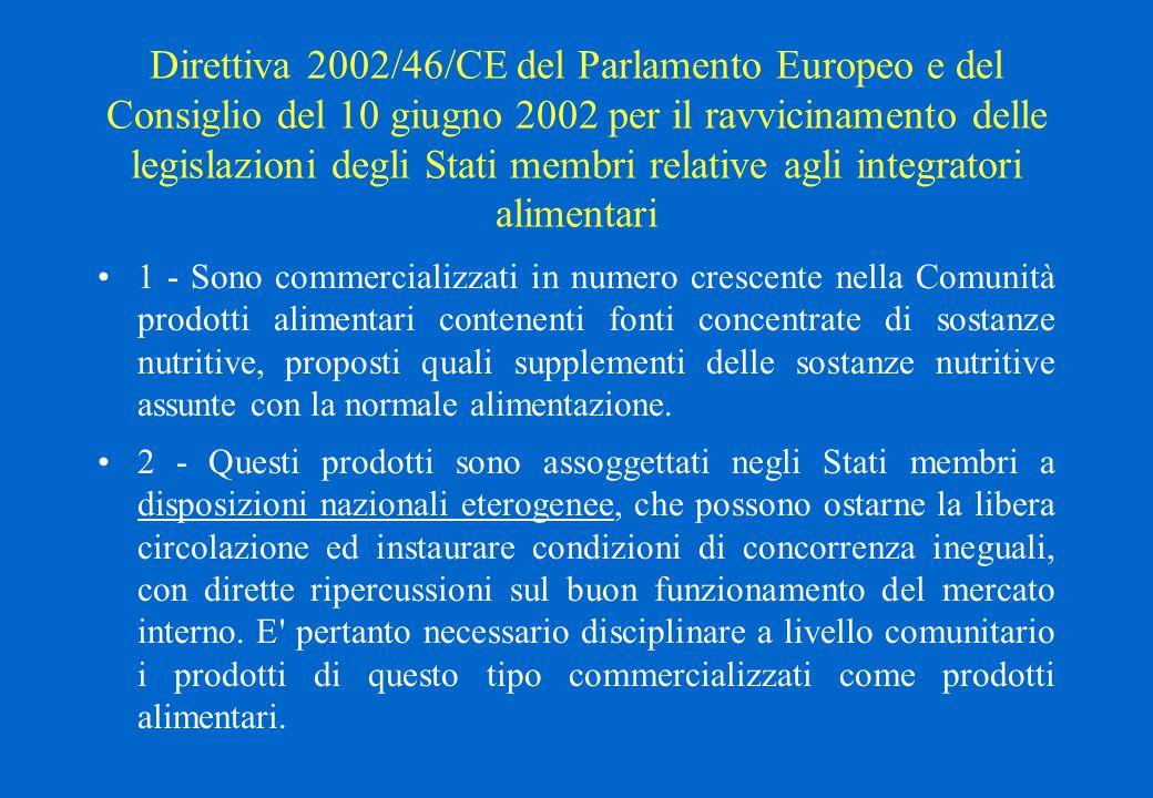 Direttiva 2002/46/CE del Parlamento Europeo e del Consiglio del 10 giugno 2002 per il ravvicinamento delle legislazioni degli Stati membri relative agli integratori alimentari