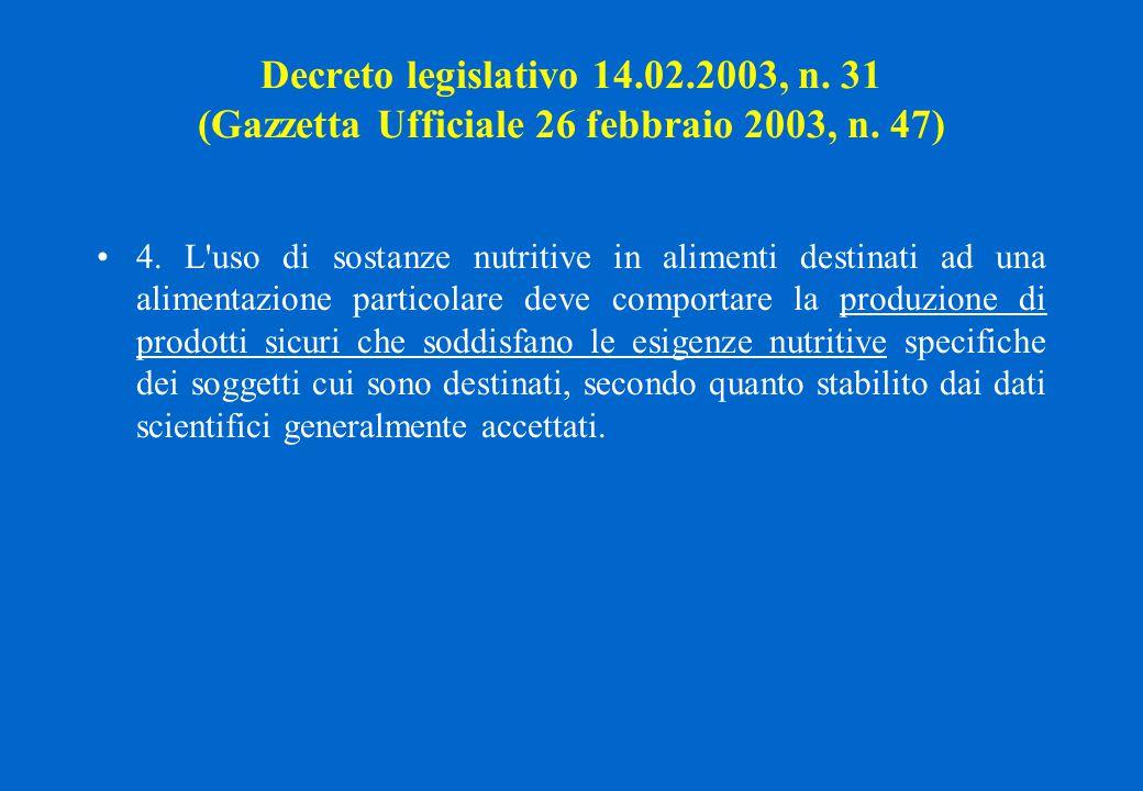 Decreto legislativo 14.02.2003, n. 31 (Gazzetta Ufficiale 26 febbraio 2003, n. 47)