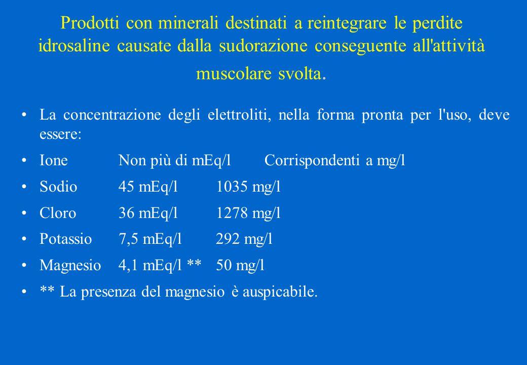 Prodotti con minerali destinati a reintegrare le perdite idrosaline causate dalla sudorazione conseguente all attività muscolare svolta.