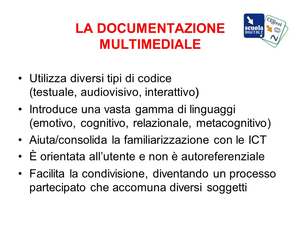 LA DOCUMENTAZIONE MULTIMEDIALE