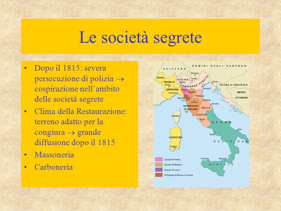 Le società segrete Dopo il 1815: severa persecuzione di polizia  cospirazione nell'ambito delle società segrete.