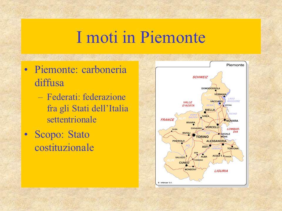 I moti in Piemonte Piemonte: carboneria diffusa