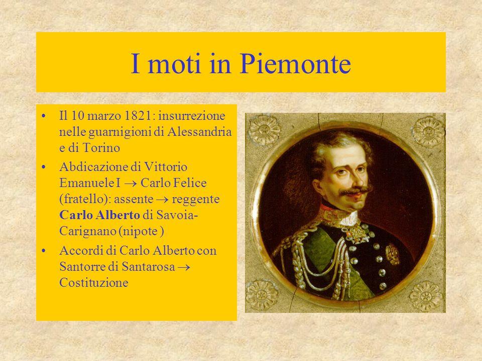 I moti in Piemonte Il 10 marzo 1821: insurrezione nelle guarnigioni di Alessandria e di Torino.