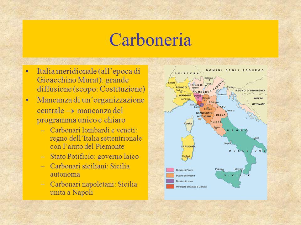 Carboneria Italia meridionale (all'epoca di Gioacchino Murat): grande diffusione (scopo: Costituzione)