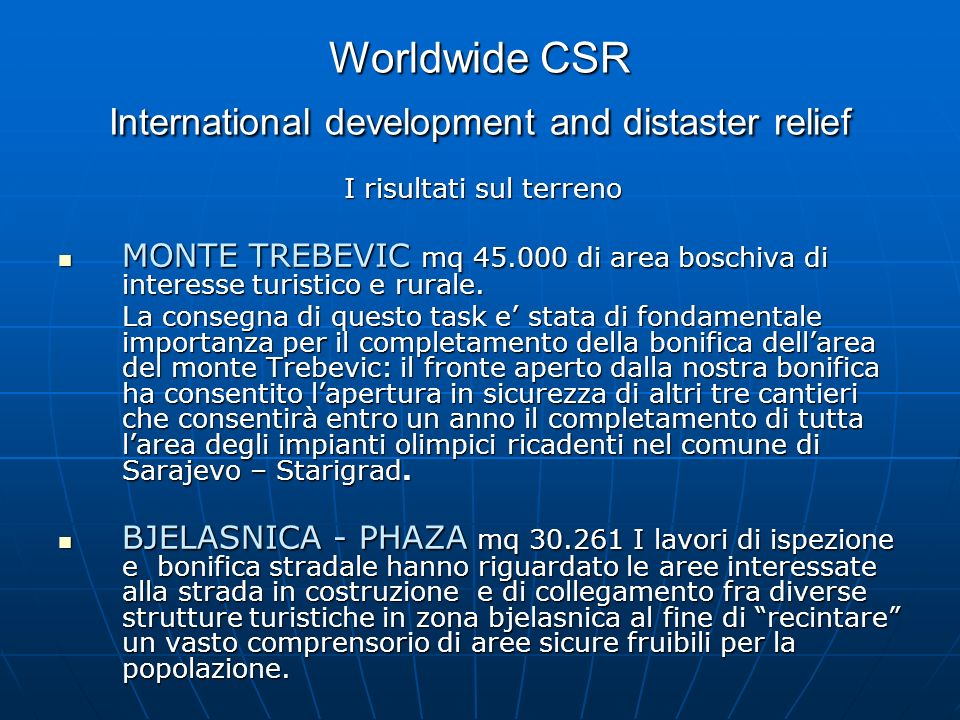 Worldwide CSR International development and distaster relief