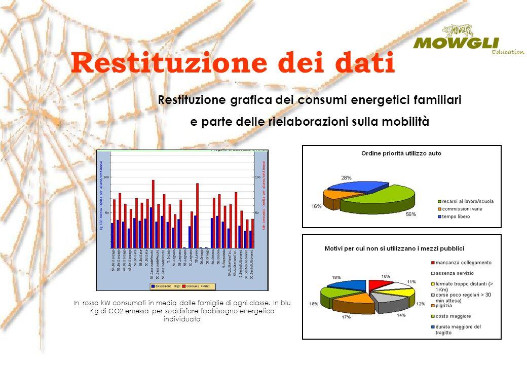 Restituzione dei dati Restituzione grafica dei consumi energetici familiari. e parte delle rielaborazioni sulla mobilità.