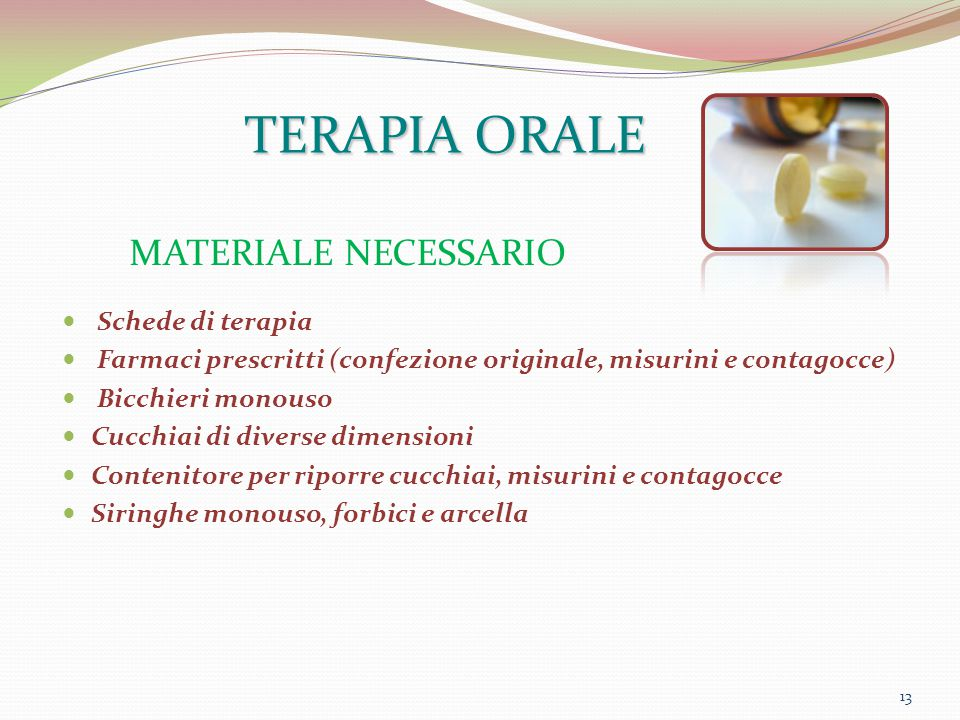 TERAPIA ORALE MATERIALE NECESSARIO Schede di terapia
