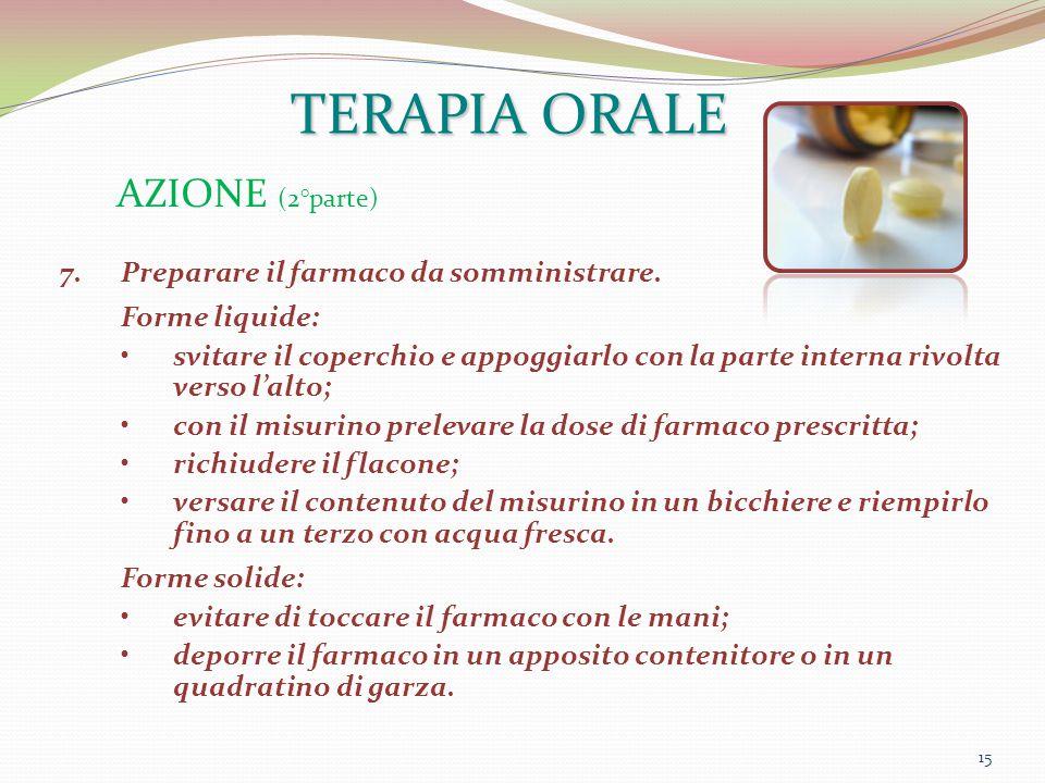 TERAPIA ORALE AZIONE (2°parte) Preparare il farmaco da somministrare.