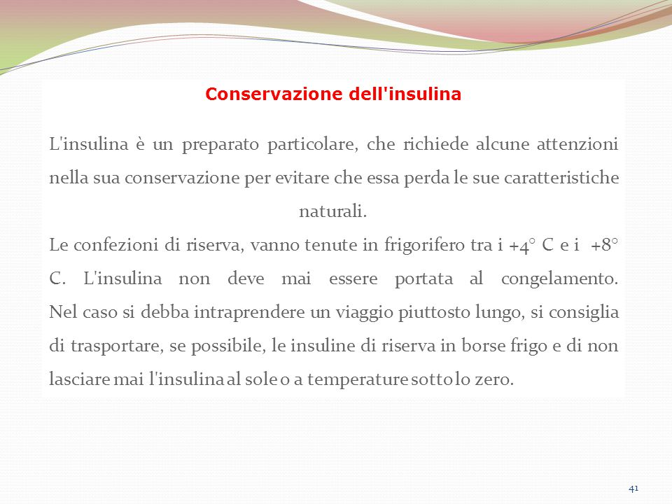 Conservazione dell insulina