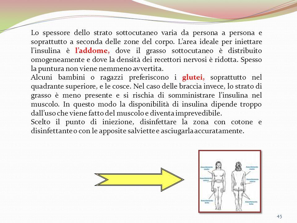 Lo spessore dello strato sottocutaneo varia da persona a persona e soprattutto a seconda delle zone del corpo. L'area ideale per iniettare l'insulina è l'addome, dove il grasso sottocutaneo è distribuito omogeneamente e dove la densità dei recettori nervosi è ridotta. Spesso la puntura non viene nemmeno avvertita.