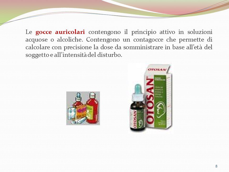 Le gocce auricolari contengono il principio attivo in soluzioni acquose o alcoliche. Contengono un contagocce che permette di calcolare con precisione la dose da somministrare in base all'età del soggetto e all'intensità del disturbo.