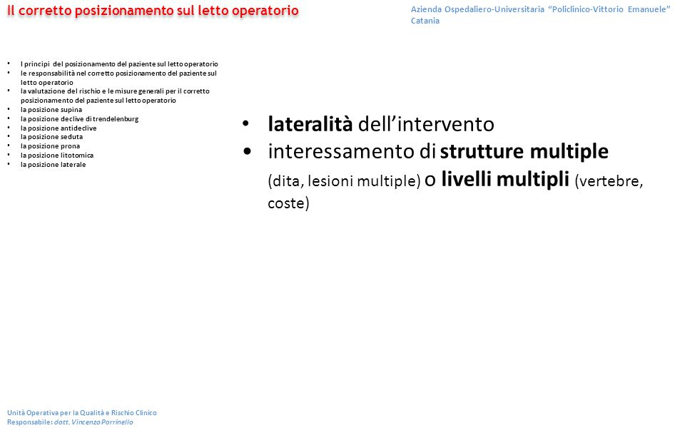 lateralità dell'intervento