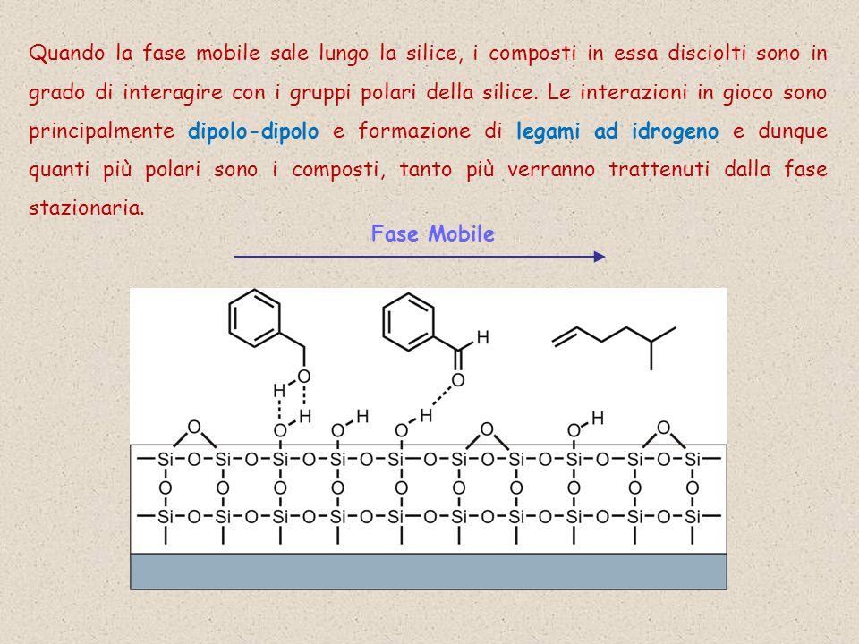 Quando la fase mobile sale lungo la silice, i composti in essa disciolti sono in grado di interagire con i gruppi polari della silice. Le interazioni in gioco sono principalmente dipolo-dipolo e formazione di legami ad idrogeno e dunque quanti più polari sono i composti, tanto più verranno trattenuti dalla fase stazionaria.
