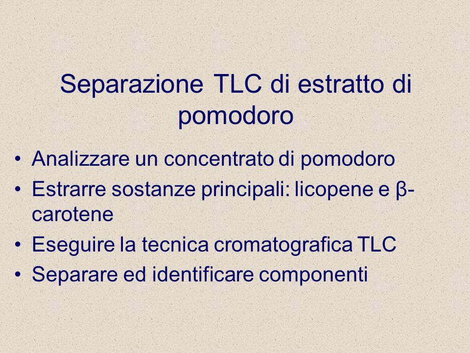 Separazione TLC di estratto di pomodoro