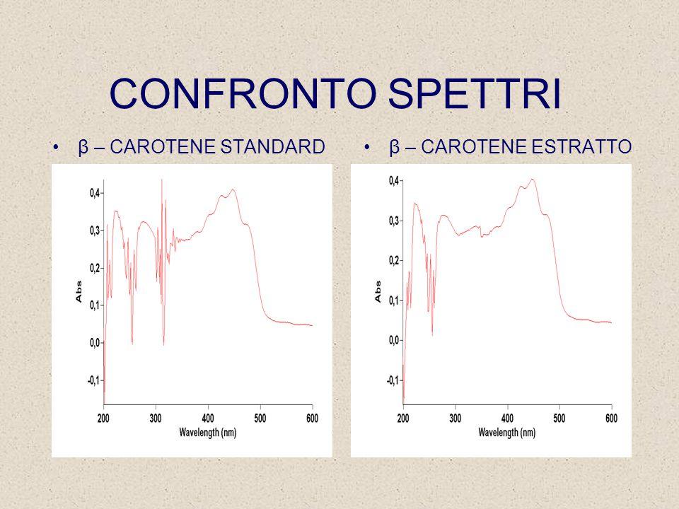 CONFRONTO SPETTRI β – CAROTENE STANDARD β – CAROTENE ESTRATTO