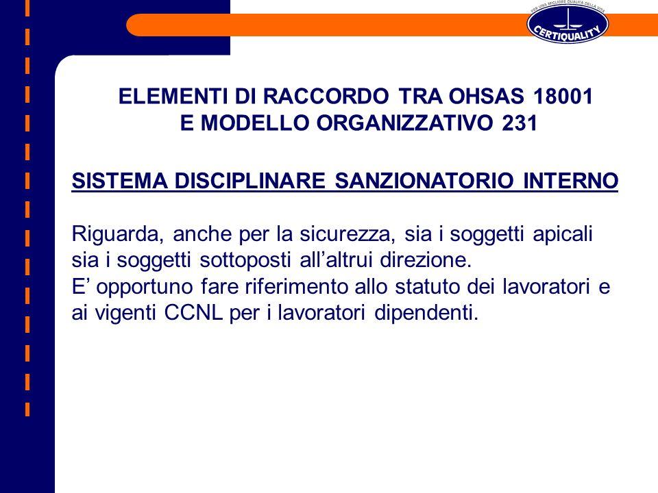 ELEMENTI DI RACCORDO TRA OHSAS 18001 E MODELLO ORGANIZZATIVO 231
