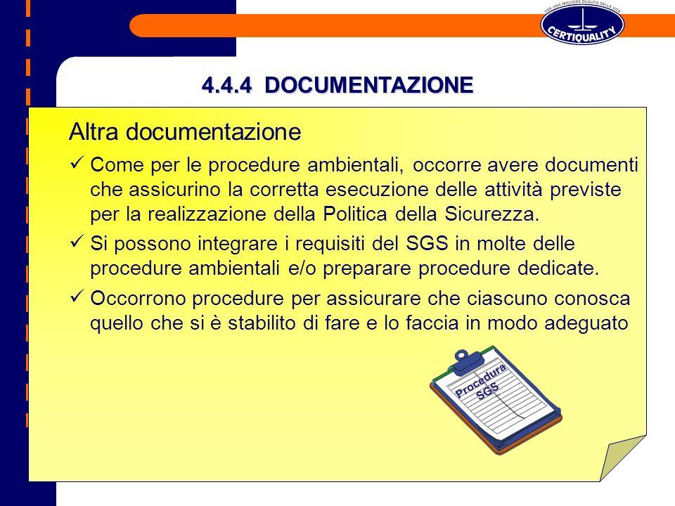 Altra documentazione 4.4.4 DOCUMENTAZIONE