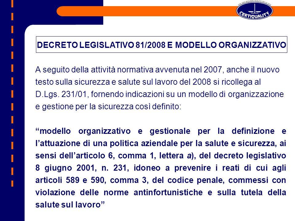 DECRETO LEGISLATIVO 81/2008 E MODELLO ORGANIZZATIVO