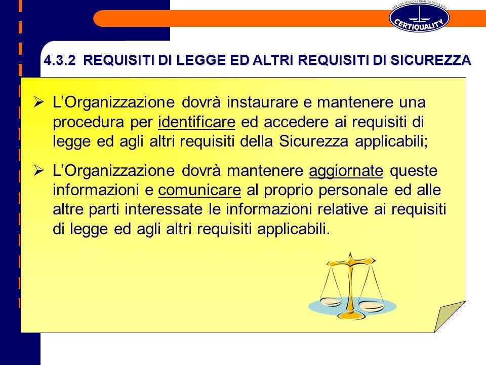 4.3.2 REQUISITI DI LEGGE ED ALTRI REQUISITI DI SICUREZZA