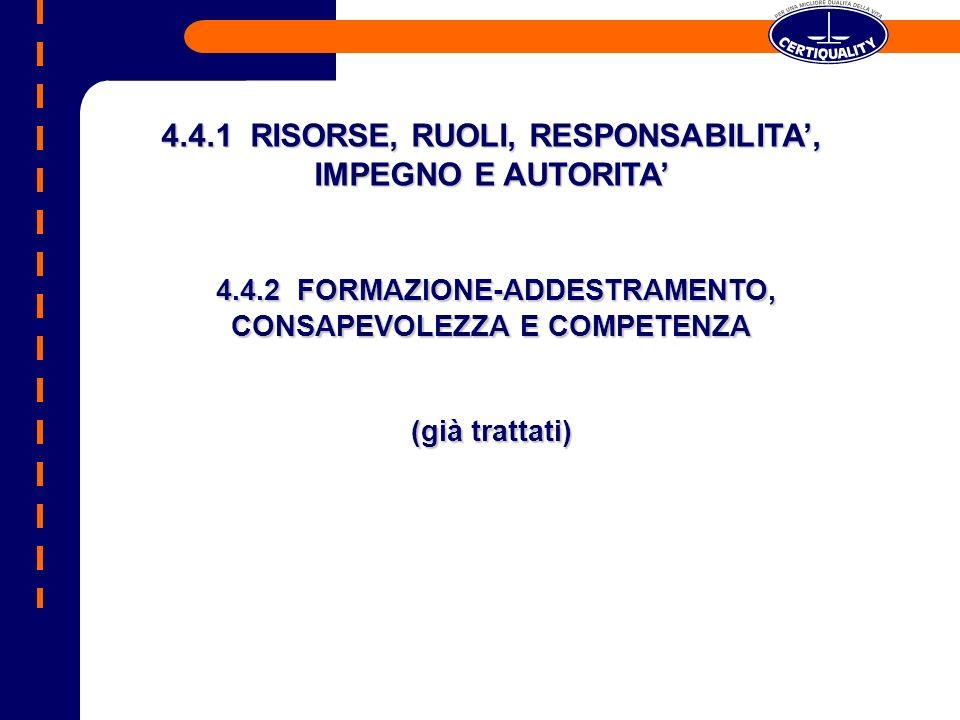 4.4.1 RISORSE, RUOLI, RESPONSABILITA', IMPEGNO E AUTORITA'