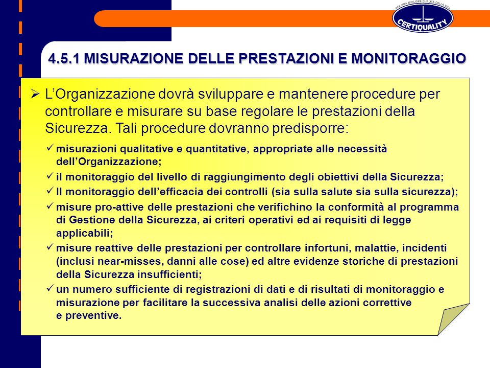 4.5.1 MISURAZIONE DELLE PRESTAZIONI E MONITORAGGIO
