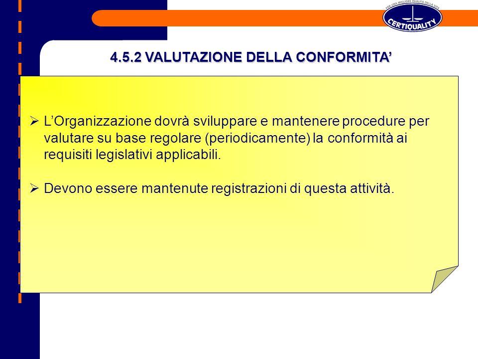 4.5.2 VALUTAZIONE DELLA CONFORMITA'