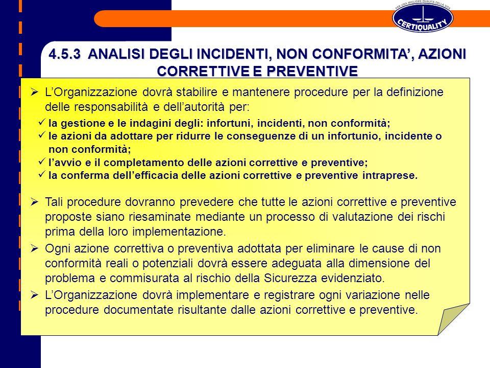 4.5.3 ANALISI DEGLI INCIDENTI, NON CONFORMITA', AZIONI CORRETTIVE E PREVENTIVE