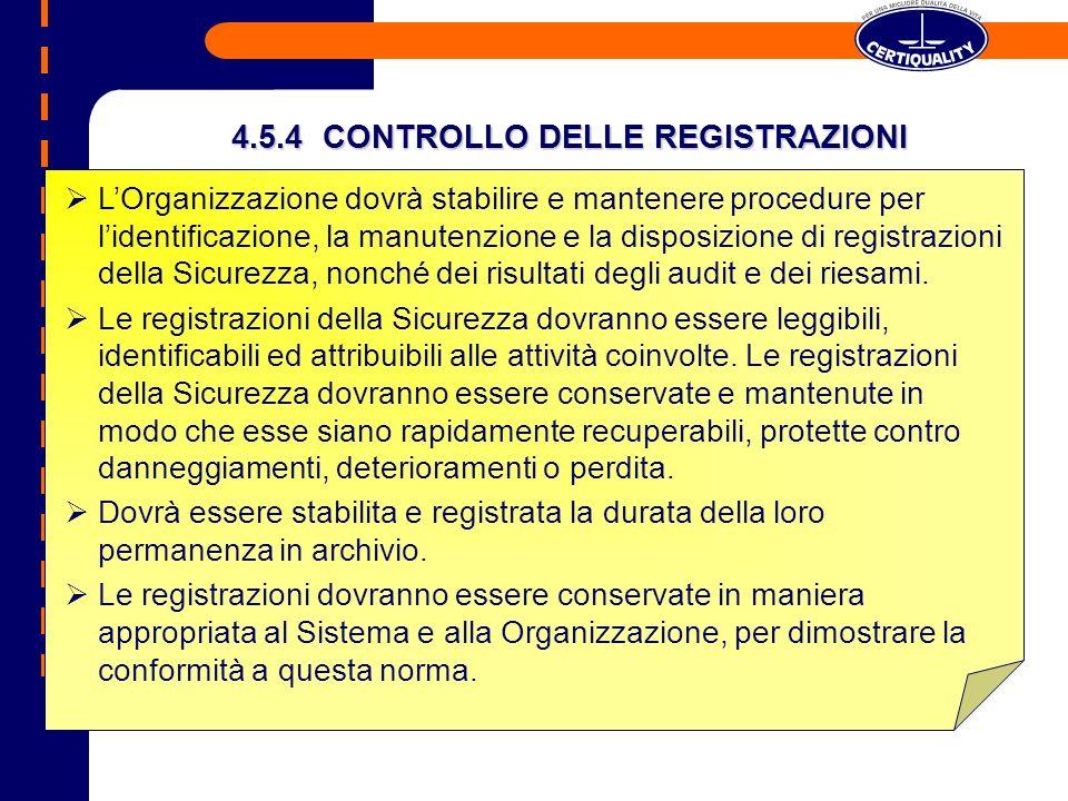 4.5.4 CONTROLLO DELLE REGISTRAZIONI