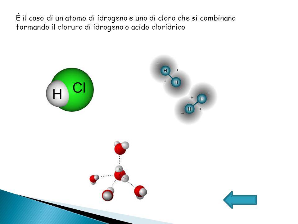 È il caso di un atomo di idrogeno e uno di cloro che si combinano