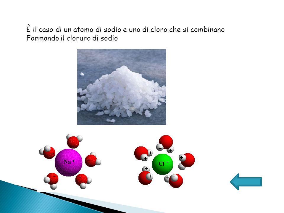 È il caso di un atomo di sodio e uno di cloro che si combinano