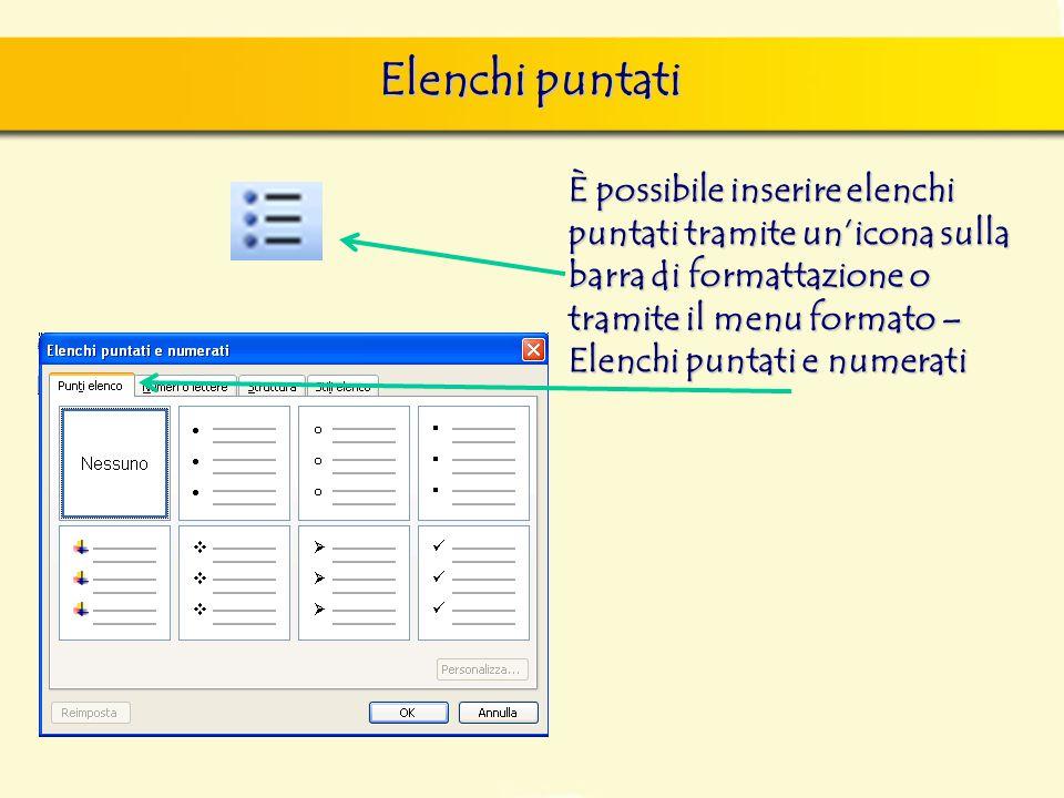 Elenchi puntati È possibile inserire elenchi puntati tramite un'icona sulla barra di formattazione o tramite il menu formato –