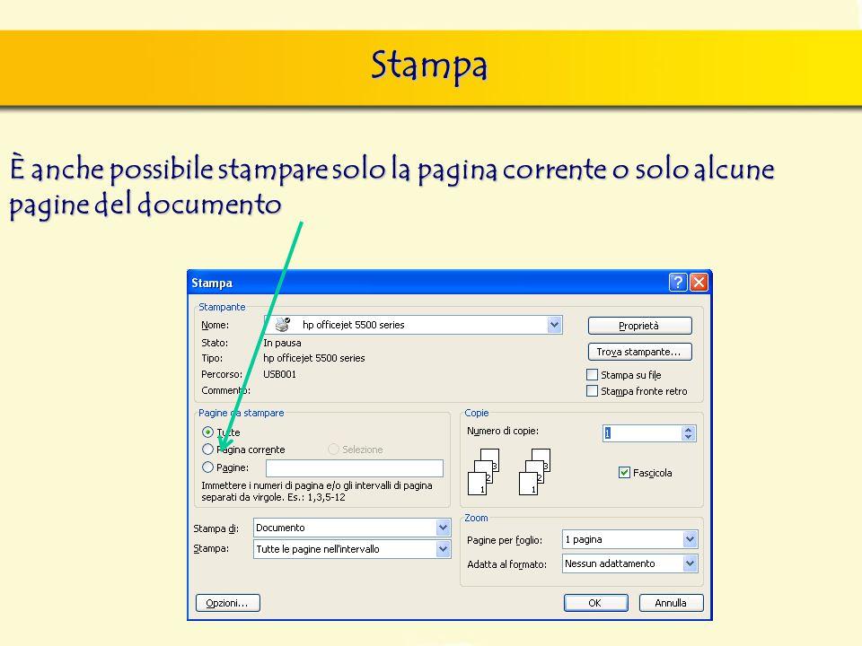 Stampa È anche possibile stampare solo la pagina corrente o solo alcune pagine del documento