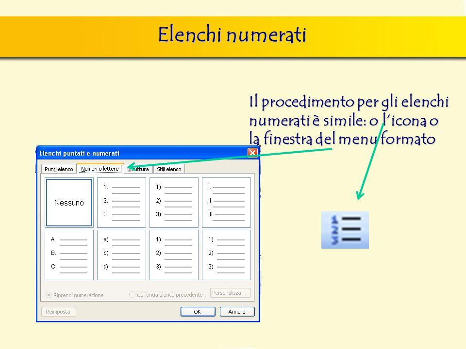 Elenchi numerati Il procedimento per gli elenchi numerati è simile: o l'icona o la finestra del menu formato.