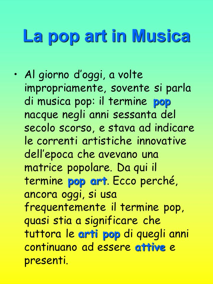 La pop art in Musica