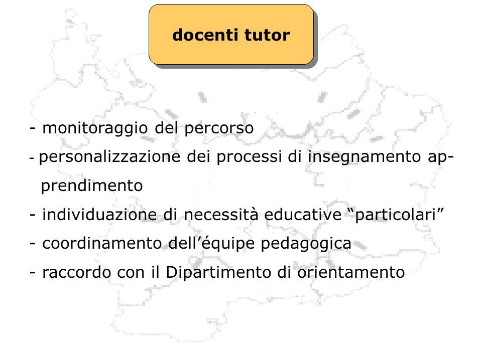 docenti tutor - monitoraggio del percorso. personalizzazione dei processi di insegnamento ap- prendimento.