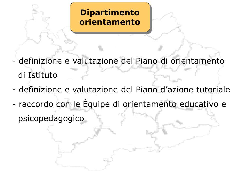 Dipartimento orientamento. definizione e valutazione del Piano di orientamento. di Istituto.