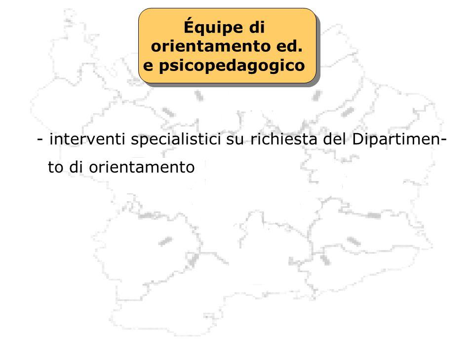Équipe di orientamento ed. e psicopedagogico. - interventi specialistici su richiesta del Dipartimen-