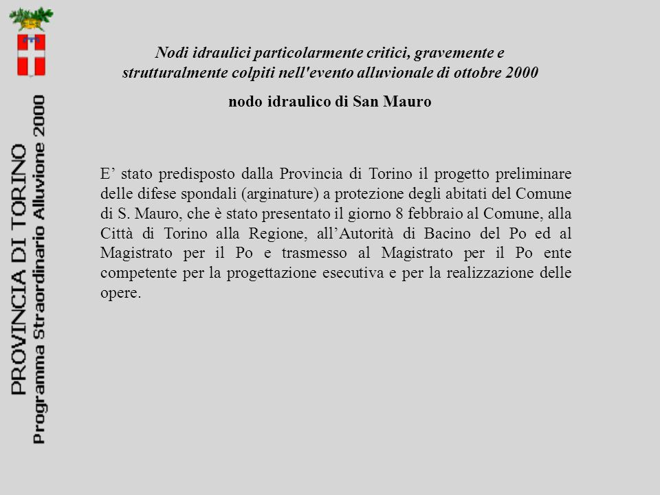 nodo idraulico di San Mauro