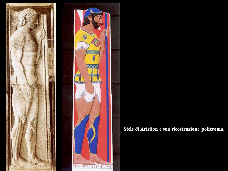 Stele di Aristion e sua ricostruzione policroma.