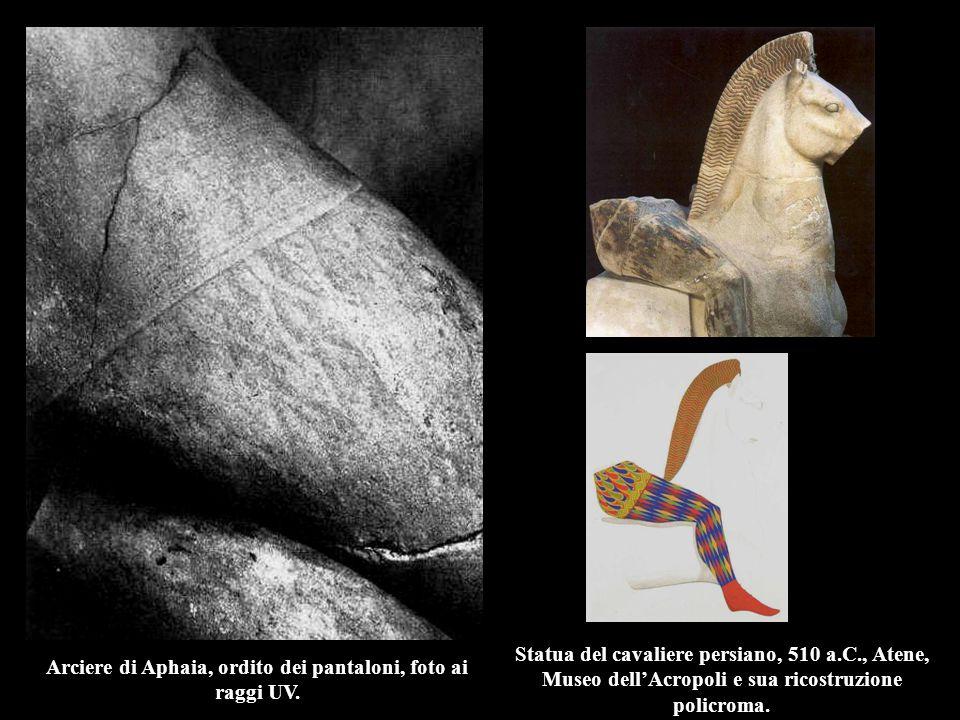 Arciere di Aphaia, ordito dei pantaloni, foto ai raggi UV.
