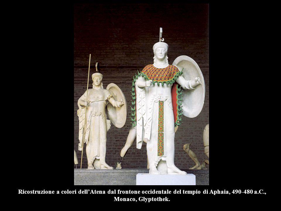 Ricostruzione a colori dell'Atena dal frontone occidentale del tempio di Aphaia, 490-480 a.C., Monaco, Glyptothek.