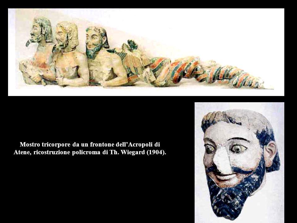 Mostro tricorpore da un frontone dell'Acropoli di Atene, ricostruzione policroma di Th.