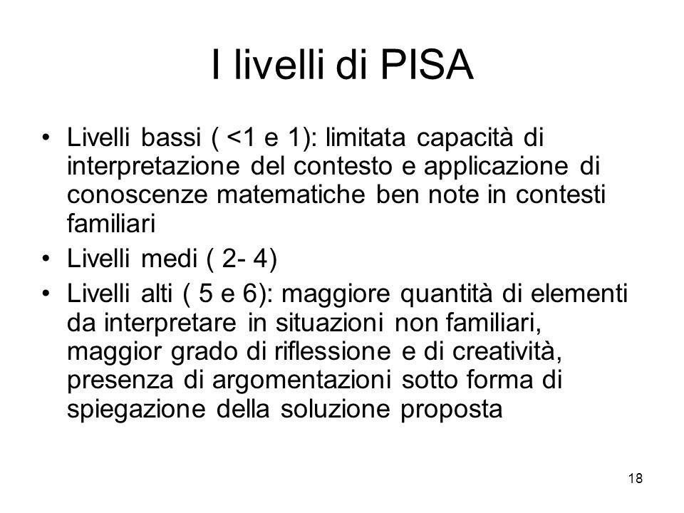 I livelli di PISA