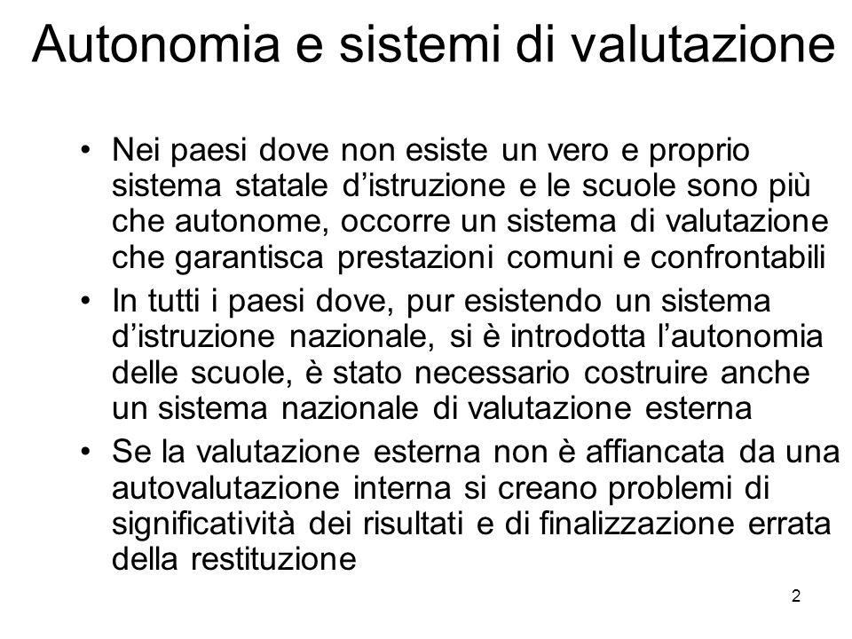 Autonomia e sistemi di valutazione