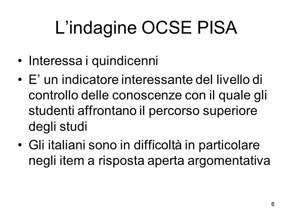 L'indagine OCSE PISA Interessa i quindicenni