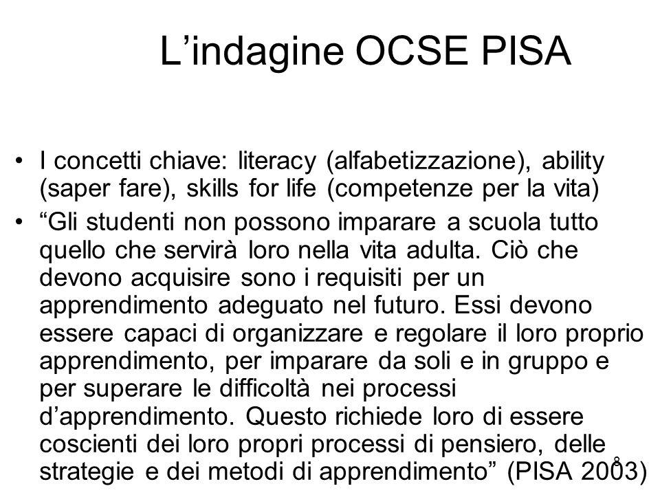 L'indagine OCSE PISA I concetti chiave: literacy (alfabetizzazione), ability (saper fare), skills for life (competenze per la vita)