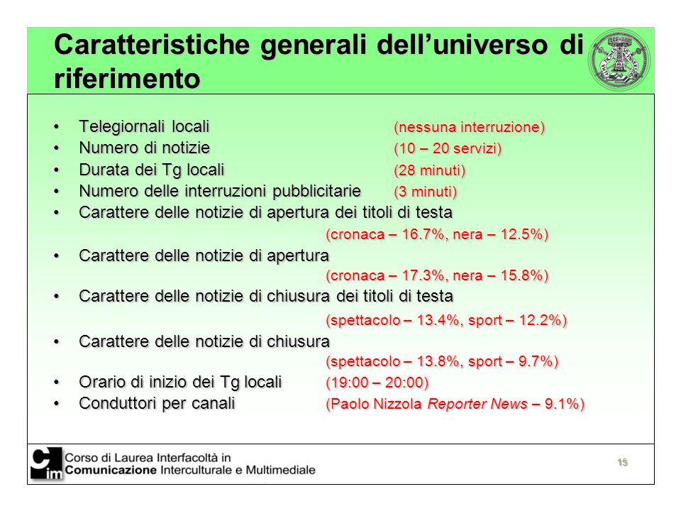 Caratteristiche generali dell'universo di riferimento