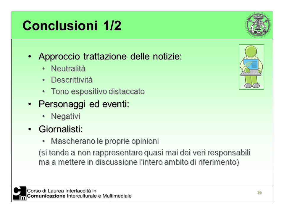 Conclusioni 1/2 Approccio trattazione delle notizie:
