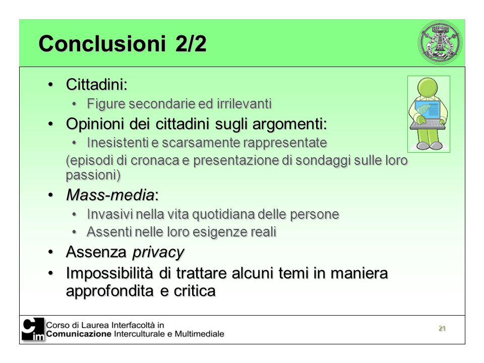 Conclusioni 2/2 Cittadini: Opinioni dei cittadini sugli argomenti: